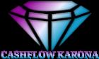"""Oben das Diamant-Symbol und unten der Schriftzug """"CASHFLOW KARONA"""". Alles in den Farben Lila & Hellblau"""